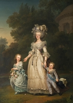Wertmüller, Adolf Ulrik - Queen Marie Antoinette of France and two of her Children Walking in The Park of Trianon