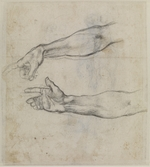 Buonarroti, Michelangelo - Studies of an outstretched arm for the fresco The Drunkenness of Noah