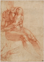 Buonarroti, Michelangelo - Seated Young Male Nude and Two Arm Studies