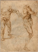 Buonarroti, Michelangelo - Two Nude Studies of a Man Storming Forward and Another Turning to the Right