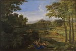 Poussin, Nicolas - Landscape with two Nymphs and a Snake