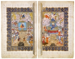 Iranian master - The Queen of Sheba and King Solomon (Manuscript illumination from the epic Shahname by Ferdowsi