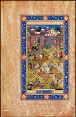 Indian Art - Nariman Kills the Son of the Khaqan of China. From The Garshaspnama epic by Asadi Tusi
