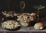 Beert, Osias, the Elder - Still life with sweets, chestnuts and a bread roll