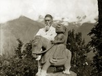 Anonymous - Nicholas Roerich by the equestrian statue of Guga Chauhan at the Kullu Valley
