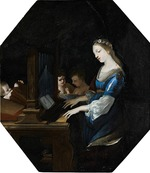 Stella, Jacques - Saint Cecilia playing the organ