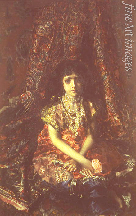 Vrubel Mikhail Alexandrovich - A girl before a persian carpet